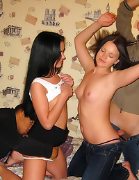 Teen orgy party with interracial