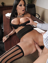 Office anal sex with stockings slut