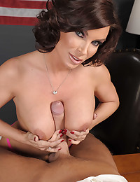 Sultry Brunette Diamond Squeezes Dick