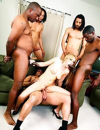Five black guys gangbang her