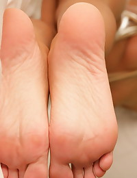 Kiss Kara - Teen temptress covers her perfectly shaped smooth feet with some cream