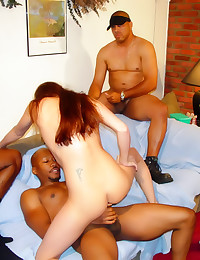 Black cock gangbangs a whore