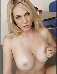 Blonde teacher loves a big cock