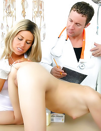 Nurse plays with patient ass