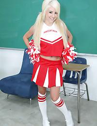 Perky cheerleader chick
