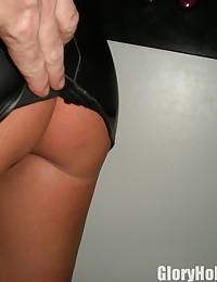 Slut Wife Pleasing Perverts Cock Through the Gloryhole