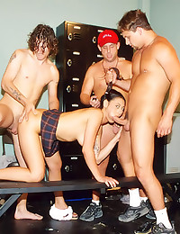 Asian in a sexy gangbang