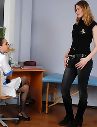 Nurse takes her anal temperature