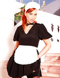 Redhead French maid anal sex
