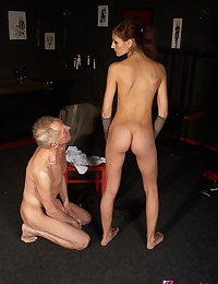 Old horny daring chap spanked by a harsh mistress