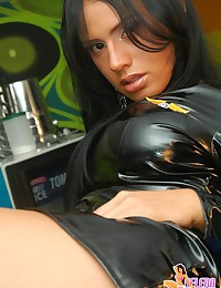 Selena Spice - Big-tittied Latin rookie worth dreaming of poses in tight latex dress