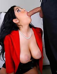 Voluptuous Office Babe Sucks Dick