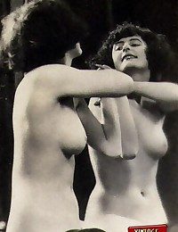 Real horny vintage girls in front of a mirror