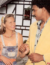 A retro interracial couple fucking outdoors