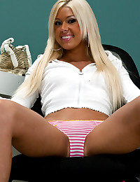 Tanned blonde with small tits