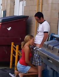 Public blowjob by a dumpster