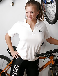 Dawson Miller - Blonde gal with bicycle exposing juicy big rack