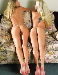 Two teens strip from pantyhos...