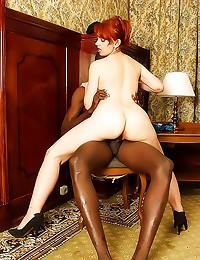 Redhead rides a black guy