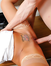 Tattooed office babe in blous...