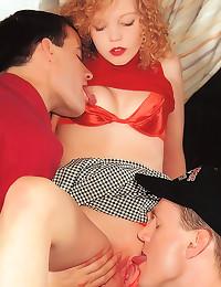 Redhead is retro cock queen