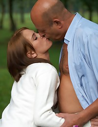 Old bald guy fucking a young adorable chick