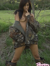Raven Riley - Naked brunette beauty in sexy army jacket