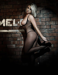 Black fishnet body stocking for a big natural tits blonde goddess solo
