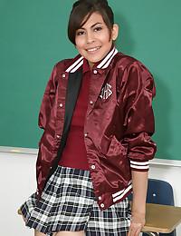 Schoolgirl tease in classroom