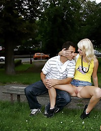 Young hot blonde having sex in public places