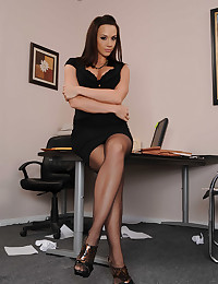 Gorgeous girl naked in office