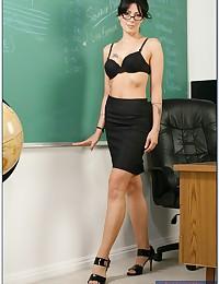 Zoe Strips In Class Room