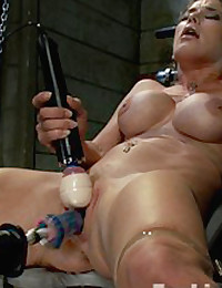 Felony babbles in tongues, cum drunk and nearly unconscious, from two machine double pen fucking. She squirts gallons uncontrollably from robot cocks!