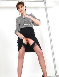 Classy blouse babe lifts skirt