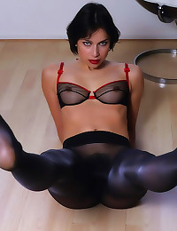 Shiny pantyhose on gorgeous g...