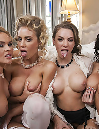 Four Naughty Babes Share One Guy