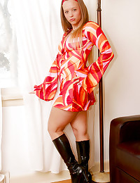 Dawson Miller - Playful young lady in sexy colorful dress and boots