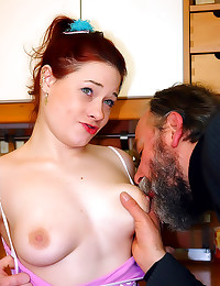 Ancient guy bangs redhead tee...