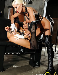 Lusty ladies bring out their dildos and have kinky lesbian latex sex