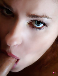 This redhead is really good at sucking cock.