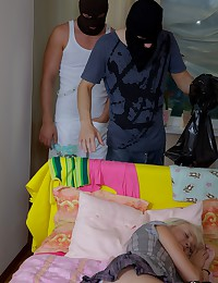 Valya's parents went to the village, she was alone at home and two horny guys used the moment to fuck her.