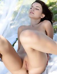 Beauty models her lingerie outdoors