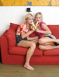 Lanas Fantasies - Two blonde hotties pose naked together and touch