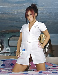 Slutty latina nurse teasing i...