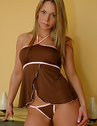 Brown lingerie on teen