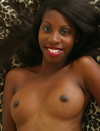 Sexy young black girlfriend with big round tits Marie Chantilly showing her dark pussy