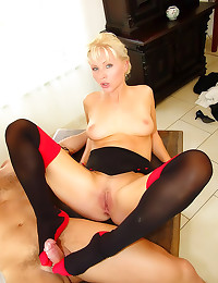 Blonde in stockings anally railed