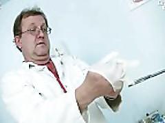 Tina gyno pussy speculum examination at kinky gyno clin