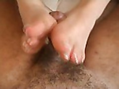 Brunettes hand/foot job