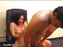 A Nasty Young Brunette Makes Her Male Co-worker Suck On A Dildo And Then Rams It Up His Ass!